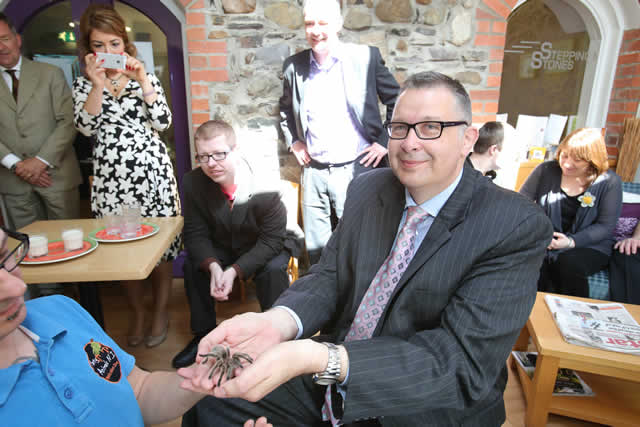 The Institute of Directors Chairman at ease with a tarantula!